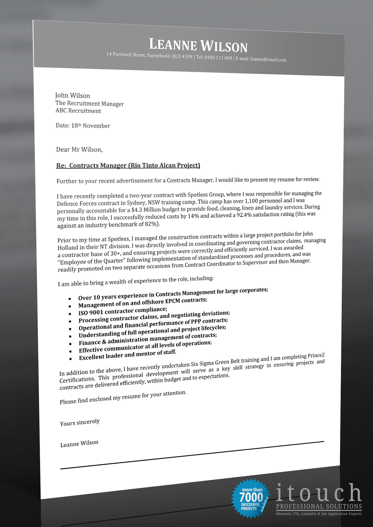 Rfi Cover Letter Example